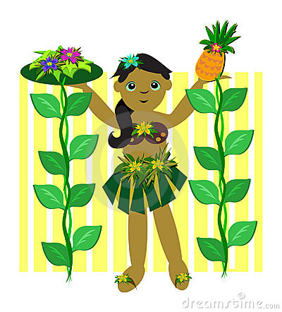 Hula Girl with Vines of Pineapple and Flowers