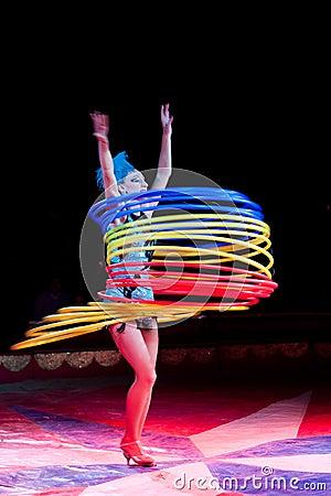 Hula-hoop dancer. Editorial Photo