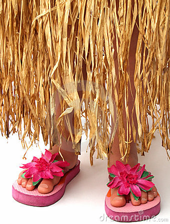 Hula skirt and flip flops