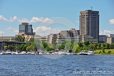 Hull Marina and View of the City of Gatineau Editorial Stock Image