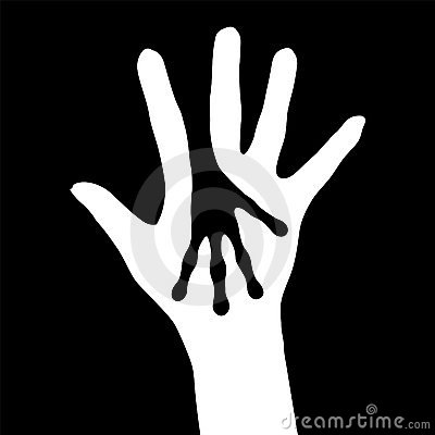 Human and Alien hands silhouette
