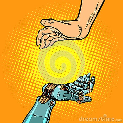 Free Human And Robot Hands. Presentation Gesture Royalty Free Stock Photo - 131089735
