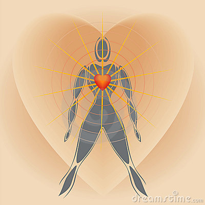 Human Body with Big Heart Radiating Rays of Light