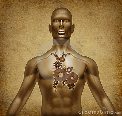 Human body grunge old document with heart valves m