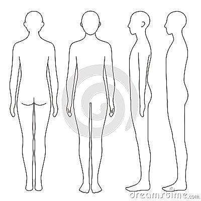 Human body outline, front, back and side, vector file set Vector Illustration