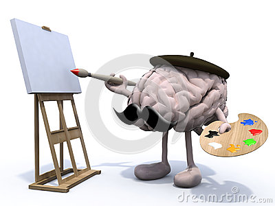 Human brain with arms, legs, moustache painter