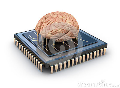 Human brain and computer chip