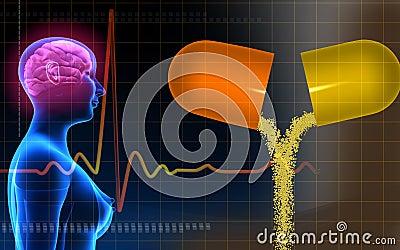 Human brain in a female human body and capsule ope