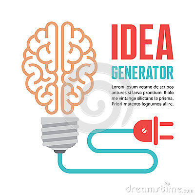 Free Human Brain In Light Bulb Vector Illustration. Idea Generator - Creative Infographic Concept. Royalty Free Stock Photography - 46534387