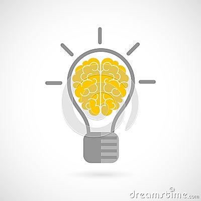 Free Human Brain In Lightbulb Flat Royalty Free Stock Photography - 46942857