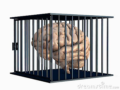 Human Brain Locked in Cage - with clipping path