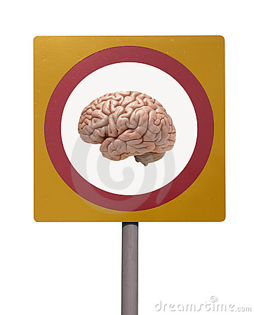 Human brain on road sign