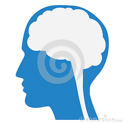 Free Human Brain Silhouette With Blue Face Profile. Royalty Free Stock Image - 51551966