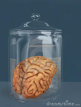 Human brain in a specimen jar