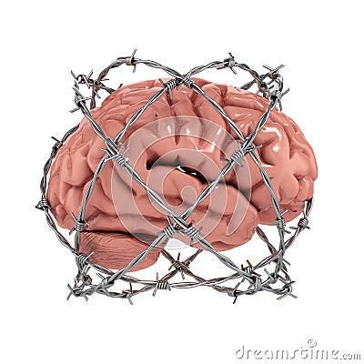 Human brain under barbwire