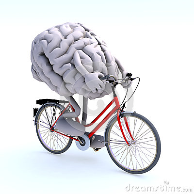 Free Human Brain With Arms And Legs Riding A Bicycle Royalty Free Stock Photos - 41735728