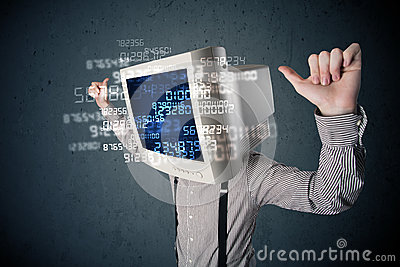 Human cyber monitor pc calculating computer data concept Stock Photo