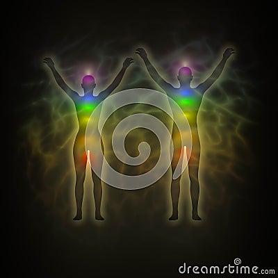 Human energy body, aura, chakras, energy, silhouet