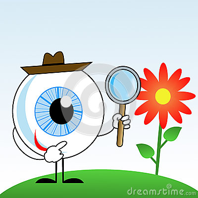 Human eye in hat with magnifying glass in hands