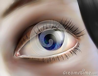 Human eye looking up