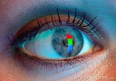 Stock Photos: Human eye with RGB-signal reflection.