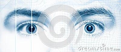 Human eyes digital hi-tech style