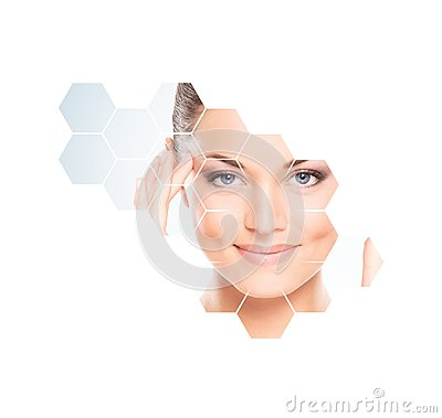 Free Human Face In Honeycomb. Young And Healthy Woman In Plastic Surgery, Medicine, Spa And Face Lifting Concept. Stock Photos - 105402303