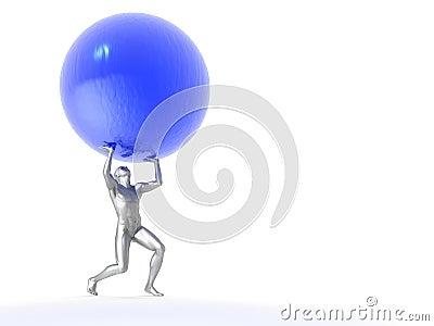 Human figure lifting globe
