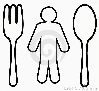 Human figure  with a spoon and a fork