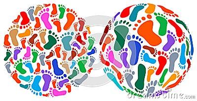 Human foot prints