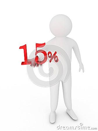 Human giving red percentage symbol