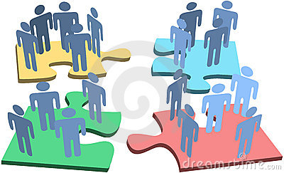Human group people puzzle pieces solution