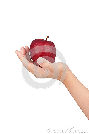 Human hand with apple