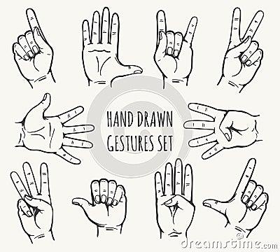 Human hand gestures set Cartoon Illustration
