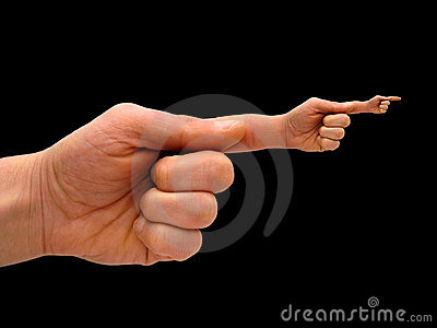 Human hand with hand-finger po
