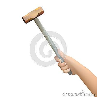 Human hand holding hammer