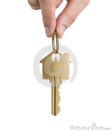 Human hand holding key