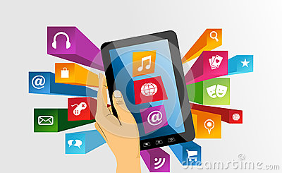 Human hand holds tablet pc with app icons.