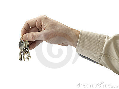 Human hand and key isolated on white background