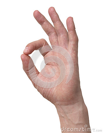 Human hand ok sign isolated with clipping path