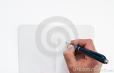 Human hand with pen