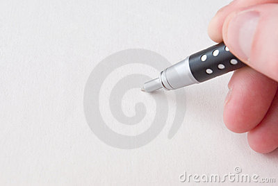 Human Hand And Pen Over White Stock Photo - Image: 12771640