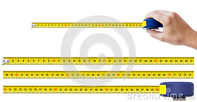 Human hand with tape-measure