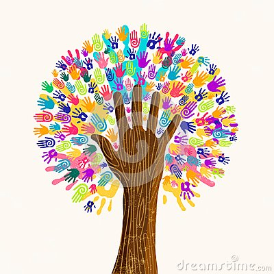 Human hand tree for culture diversity concept Vector Illustration