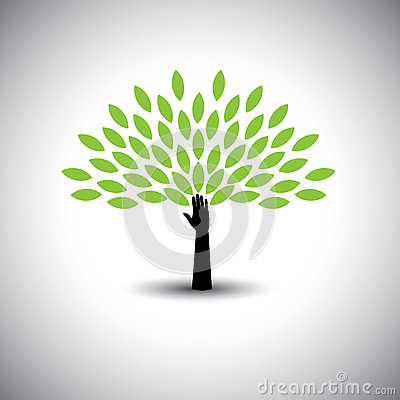 Free Human Hand & Tree Icon With Green Leaves - Eco Concept Vector. Stock Photos - 49741423