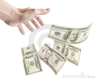 Human hand want to grab floating banknotes