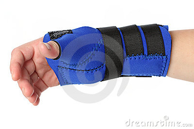 Human hand with a wrist brace