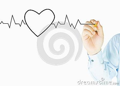 Human hand writes heart