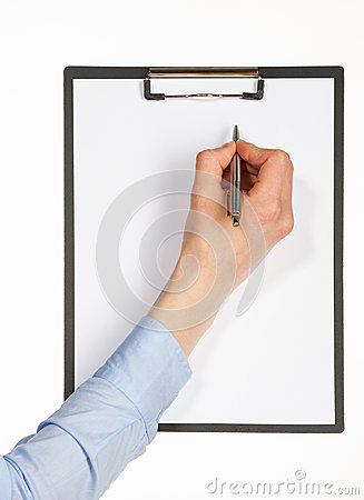 Human hand writing with pen on clipboard
