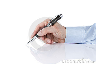 Human hand writing with silver pen